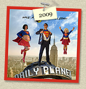 YEAR:&nbsp;2009&nbsp;&nbsp;&nbsp;&nbsp;COSTUME:&nbsp;Superwoman (Susie), Clark Kent (Steven) & Supergirl (Sadie)<p>IMAGE USED:&nbsp;based on Superman poster, 3D illustration